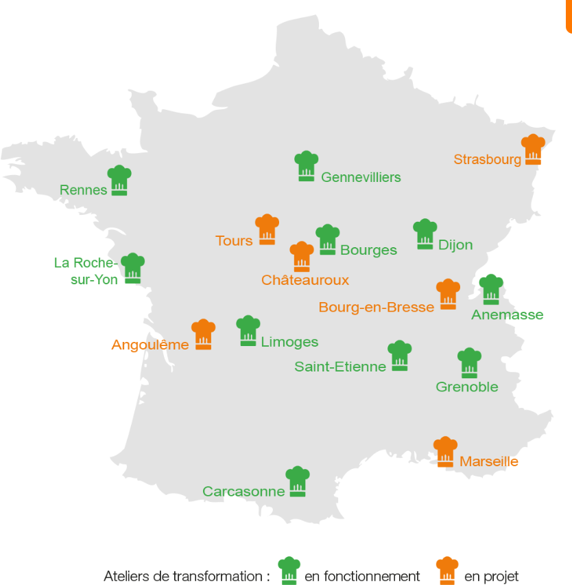 Carte representant les ateliers de transformation en France